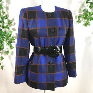 Vintage Kraper Brown, Black & Blue Plaid Blazer